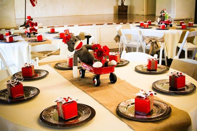 Table settings at a Sock Monkey Party #sockmonkey #partytable