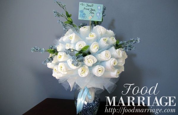 How to make a Diaper Bouquet for a Boy @BA Haggerty / FoodMarriage.com