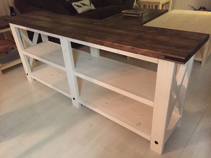 Rustic Sofa Table   Dark Walnut On Top With A White Wash Finish On The  Bottom