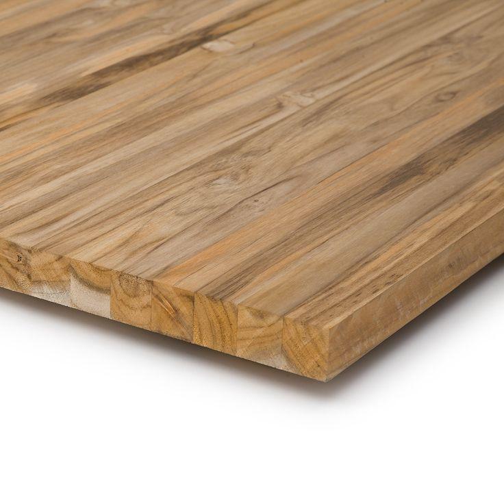 Tischplatte aus Teakholz in 34mm Stärke kaufen. Auch geeignet als Möbelbau-Holz, Arbeitsplatte für die Küche oder Waschtisch. ✓ Wasserfest ✓ FSC 100%