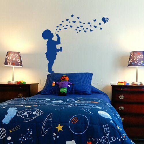 Kind harten bellen blazen muurtattoo sticker jongen meisje liefde crèche babykamer tiener- vinyl muursticker 70* 80cm gratis verzending