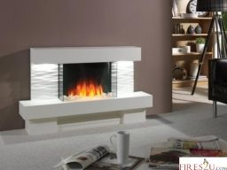 The Flamertie Ador LED electric fireplace suite is a stunning floor-standing suite that comes with a Nitra Flame Curve flame picture which provides a warm and lively curved flame image at the centre of the fuel bed.