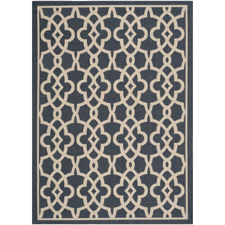 Safavieh Indoor Outdoor Courtyard Navy Beige Rug 67 X 9