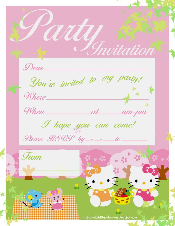 Free Hello Kitty Printable Invitation