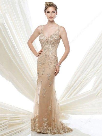 Trumpet/Mermaid Tulle V-neck Lace Sweep Train Formal Dresses -AU$223.49
