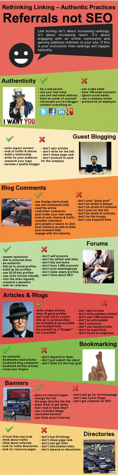How To Build Backlinks (2012) by SEM and SEO News. A lazy attempt at an infographic by putting a lot of words and some stock photos. The words are relevant, so I am including it.