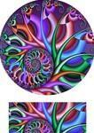 Sublimation of a spiral fractal design