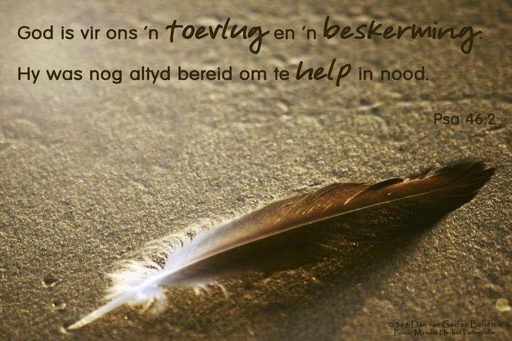 Bybelvers: Psalm 46:2 God is vir ons 'n toevlug en 'n beskerming. Hy was nog altyd bereid om te help in nood.