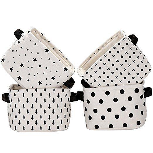 Yiuswoy Set of 4 Weiß Stoff Aufbewahrungsbox Aus Baumwolle,Baby Aufbewahrungskorb,Desktop Lagerung Snacks Spielzeug Bürobedarf