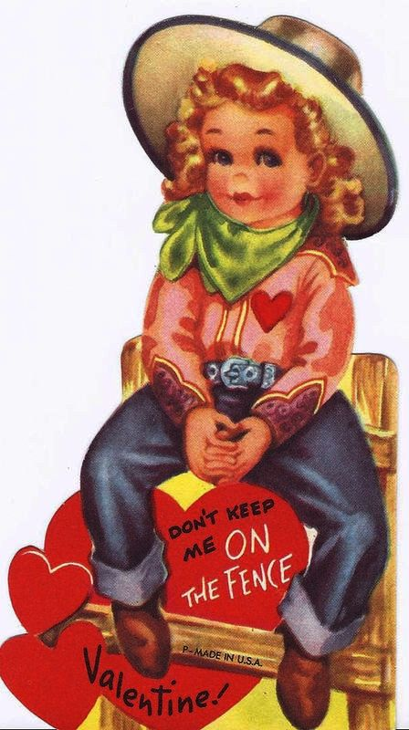 "Vintage cowgirl Valentine. I wonder if this character was inspired by Betty Hutton's portrayl of Annie Oakley in the 1950 film ""Annie Get Your Gun."""