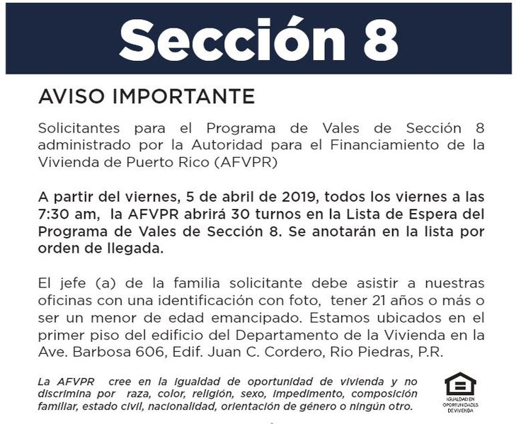 04 09 19 Puerto Rico Housing Spanish Flyer Section 8 Has Opened Https Www Afv Pr Gov Puerto Rico Section 8 Section 8 Housing