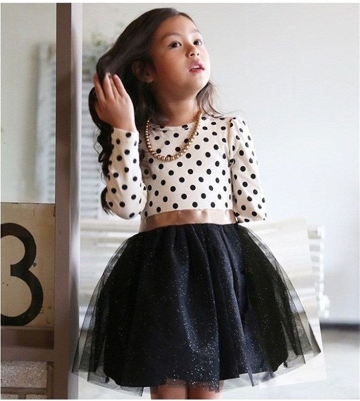 New Autumn Winter Kids Toddlers Girls Dresses Polka Dot Bow-Knot Long Sleeve Dress Girl Clothing Party Kids Clothes 3-8Year