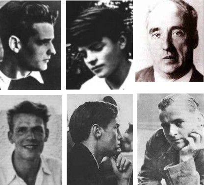 """The core of the anti-nazi resistance group called the """"White Rose"""". Hans Scholl, Sophie Scholl, Prof. Kurt Huber, Christoph Probst, Alexander Schmorell, Willi Graf"""
