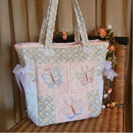 Butterfly Tote Bag - butterfly wings embroidered over mylar to give a lovely shimmer effect.