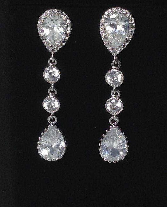 Bruiloft sieraden Cubic Zirconia Pear drop door BridalTreasures4U