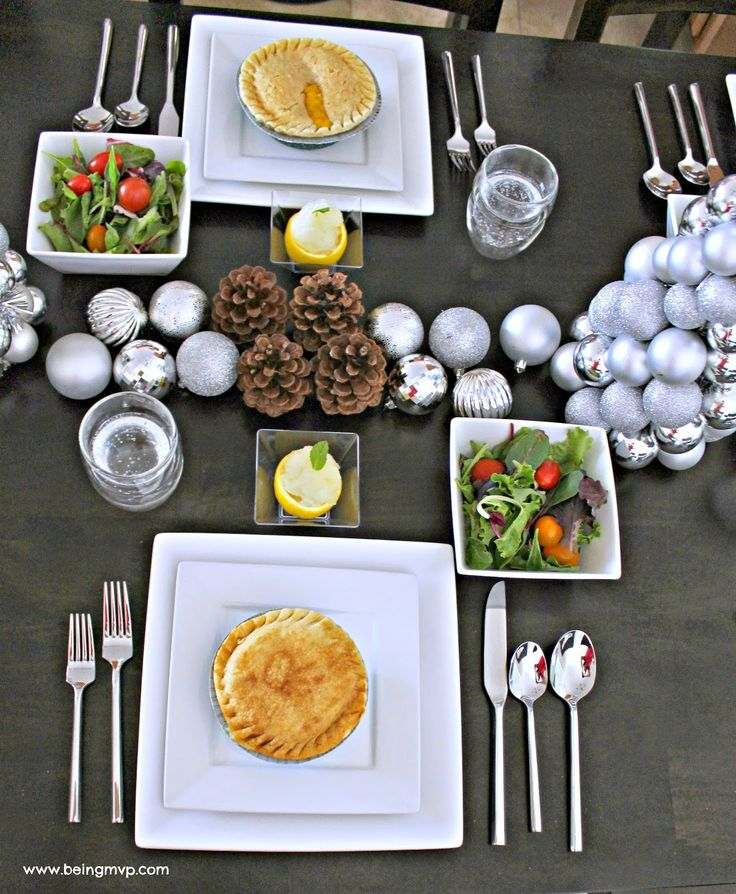 being MVP: Modern Winter Party Tablescape | Simple Menu with Marie Callender's Pot Pies + Lemon Sorbet Recipe #WarmthInACrust #ad