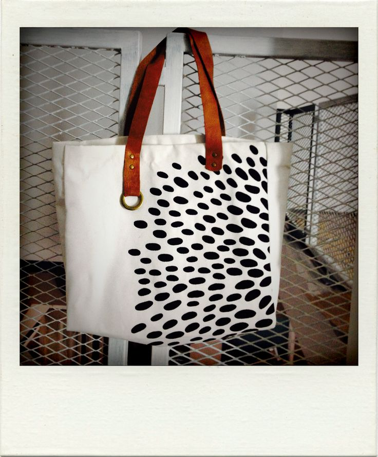 Large Canvas Tote Bag with leather strap