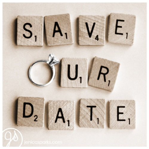 Super cute!: Save The Date, Photo Ideas, Cute Ideas, Scrabble Tile, Card, Date Ideas, Invitation, Engagement Rings, Scrabble Letters