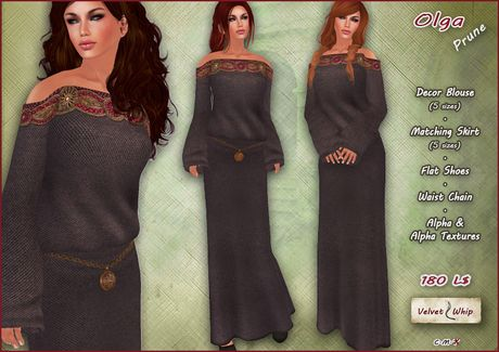 [V/W] Olga Dress Prune - Medieval fantasy attire with decorated blouse, matching skirt, shoes, chain belt
