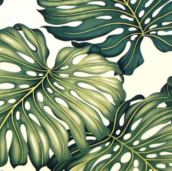 Tropical Leaf Upholstery Fabric Large-Scale Monstera by gBagHawaii