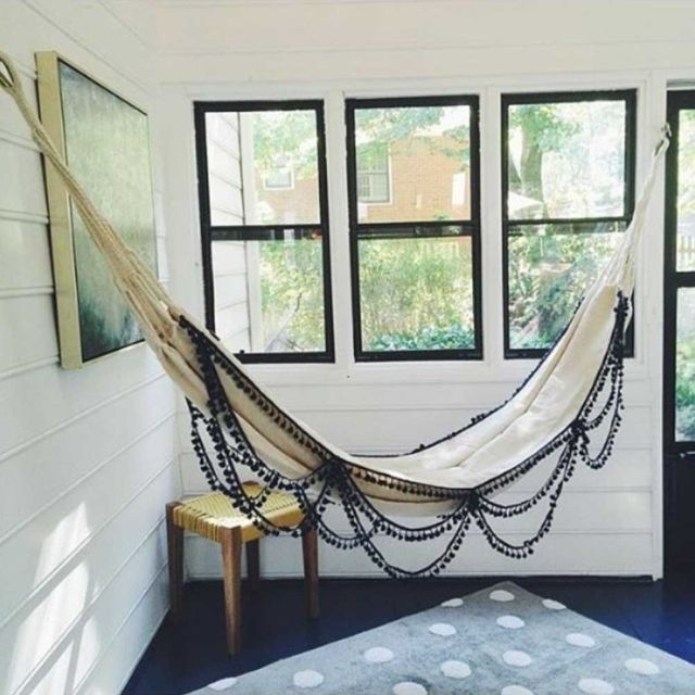 Getting an indoor hammock will create an oasis at home, a space to relax and enjoy, a happy corner that can be glamorous or bohemian. This picture is sent by our customer who lives in Atlanta.