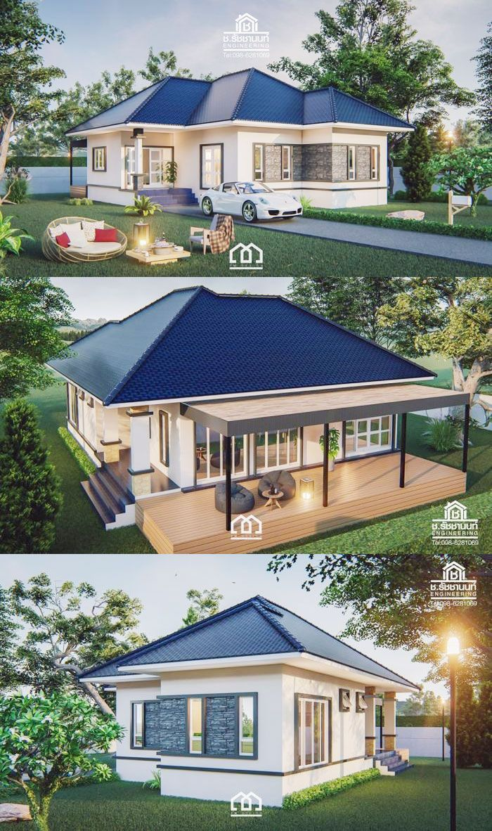 Two Bedroom Single Story House With Full Length Veranda Ulric Home Beautiful House Plans House Plan Gallery Dream House Plans