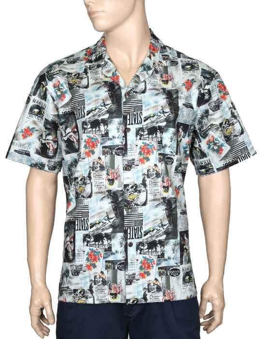 Vintage Aloha Shirt Classic Hawaii Newspaper