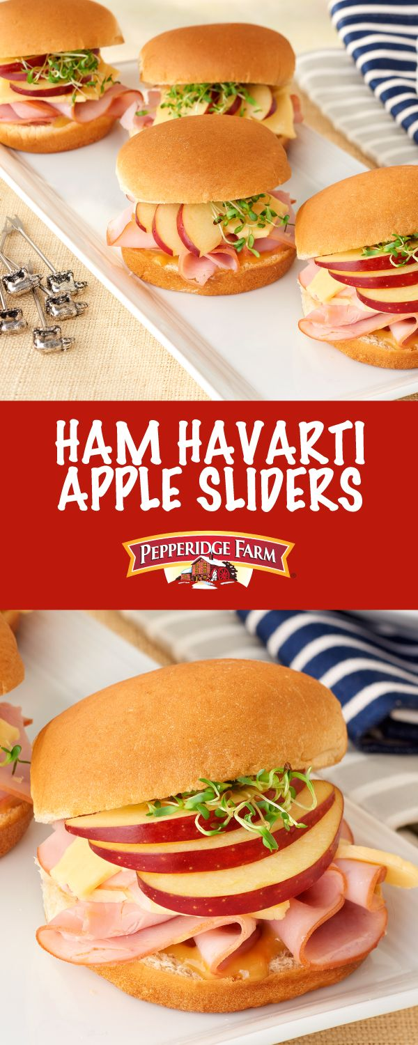 Pepperidge Farm Ham, Havarti & Apple Sliders Recipe. Whether tailgating outside your favorite arena or huddled with your team in the living room, serve these jazzed-up ham and cheese sliders to your hungry crowd. They feature Pepperidge Farm sweet Hawaiian buns layered with honey mustard, Black Forest ham, sliced apple and harvarti cheese. You cannot beat the flavor combination and best of all, it takes just 10 minutes to prepare!