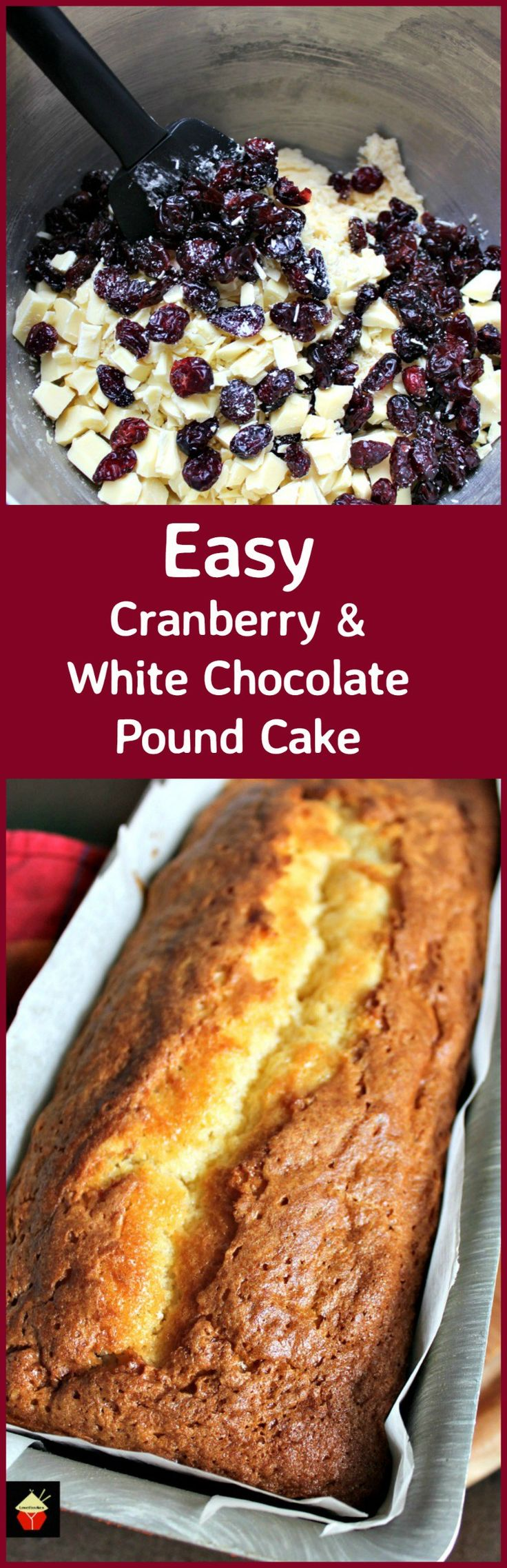 Easy Cranberry and White Chocolate Pound Cake. This is a delicious soft and moist pound cake with a wonderful white chocolate flavor and added lovely cranberries. Freezer friendly and easy to make. | Lovefoodies.com