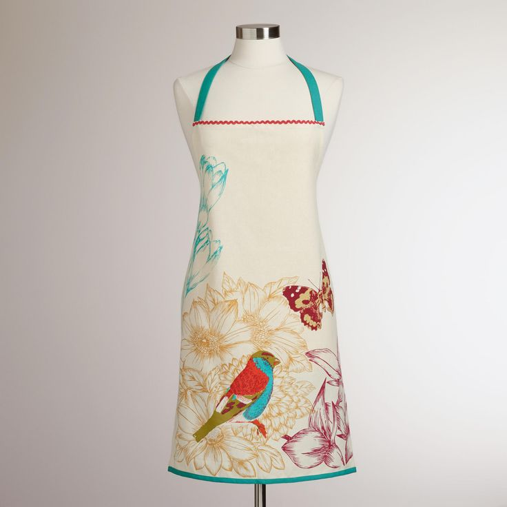 Blue bird apron world market products i love for Anthropologie cuisine couture apron