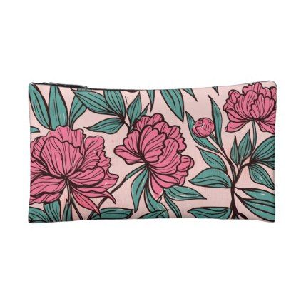 Vintage Lovely Flowers Leaf  Small Cosmetic Bag - flowers floral flower design unique style