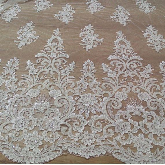 Lace fabricIvory lace fabricbeaded lace fabrictulle lace