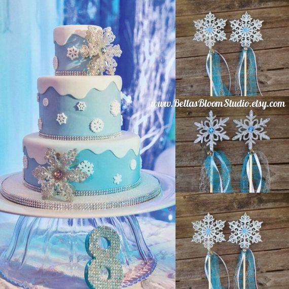 Frozen wands Snowflake WandsElsa Frozen by BellasBloomStudio