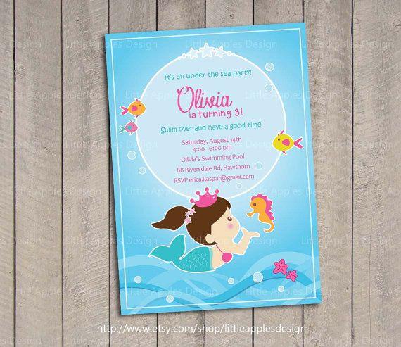 Little Mermaid Invitation / Mermaid invitation / Ariel Birthday Invitation / Mermaid Printable / Mermaid Invite / Little Mermaid Invite by LittleApplesDesign on Etsy