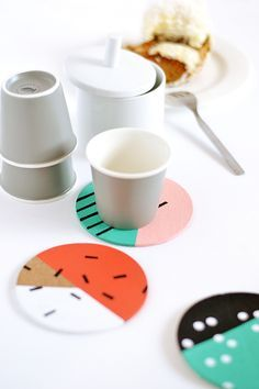 DIY Patterned Cork Coasters