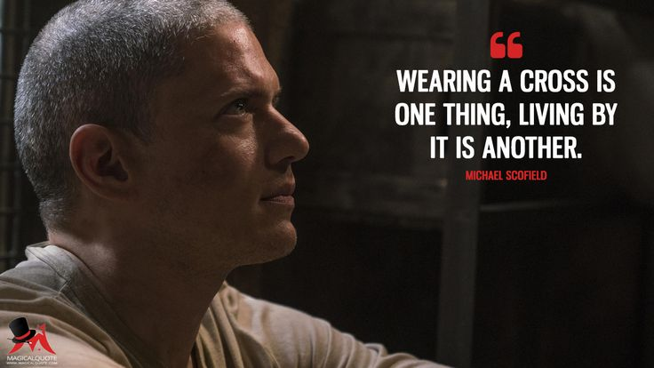 Michael Scofield: Wearing a cross is one thing, living by it is another.  More on: https://www.magicalquote.com/series/prison-break/ #MichaelScofield #PrisonBreak