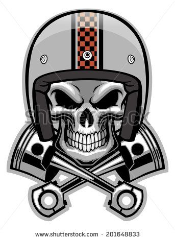 skull and crossed piston - stock vector