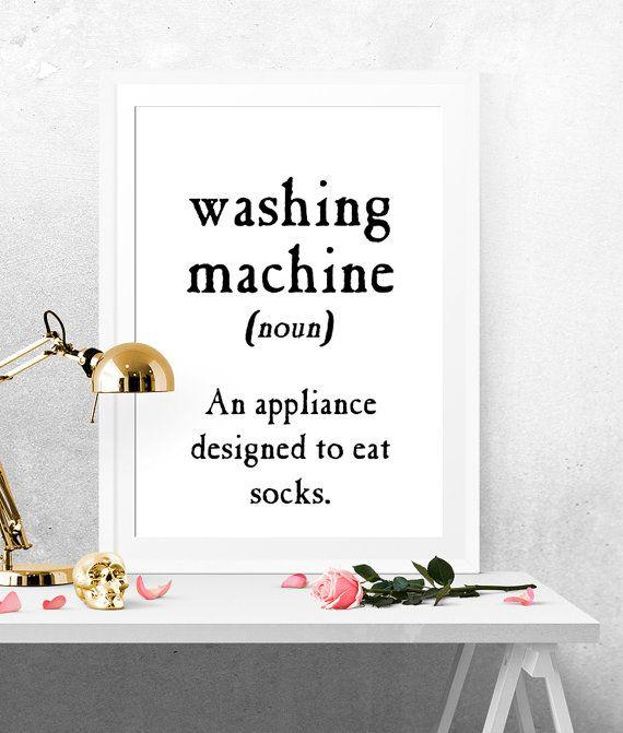 Washing Machine Definition, Fun Print, Printable Poster, Black And White Print, Black White, Minimalist Poster, MInimalist Art, Funny Quote