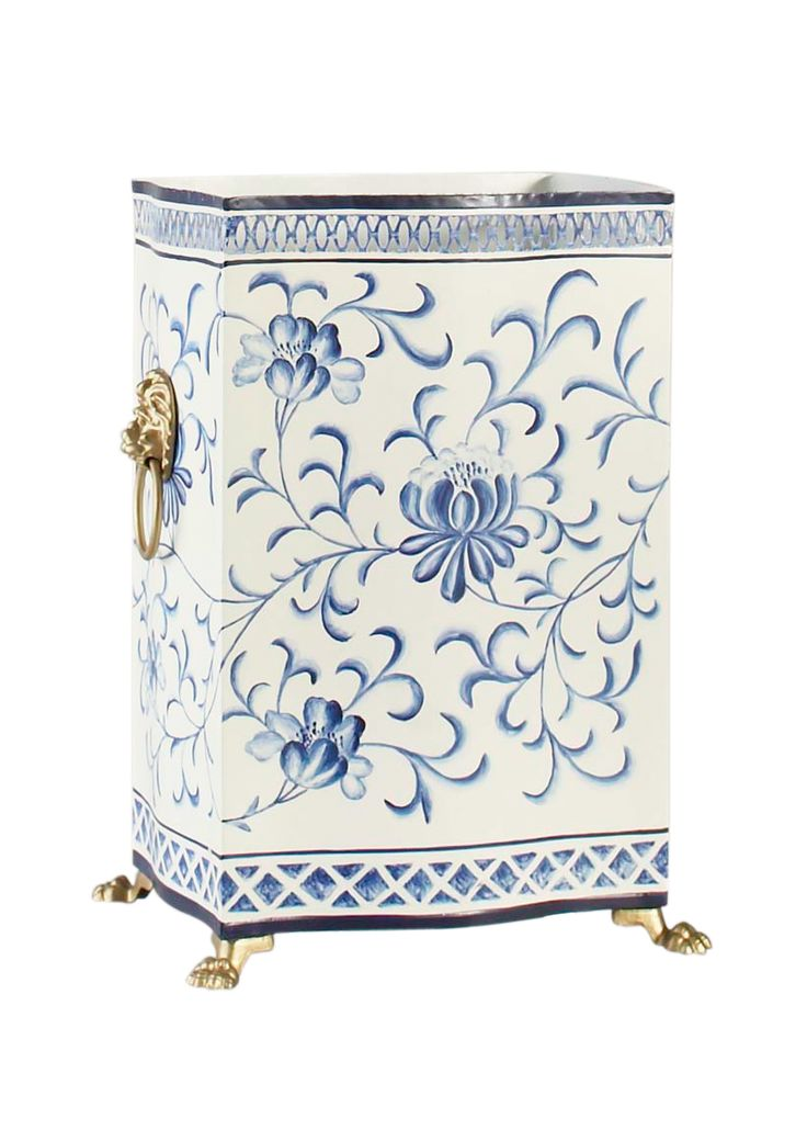 Blue and White Floral Wastebasket