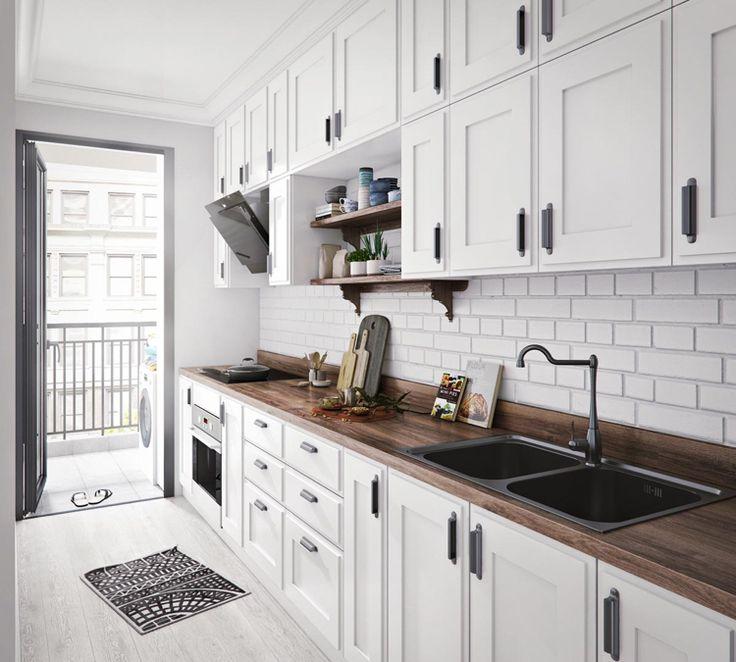 Moderne Küche Mit Wände, Küchenboden Und Arbeit