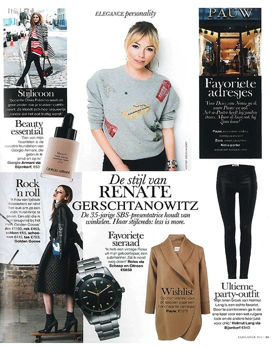 Featured in Elegance magazine: RENATE GERSCHTANOWITZ' WISHLIST  Renate's style advice: less is more. On her wishlist for Winter 2015 is Pauw's cashmere coat.