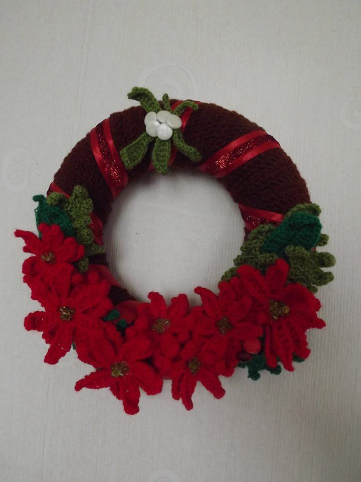 Crocheted Christmas wreath