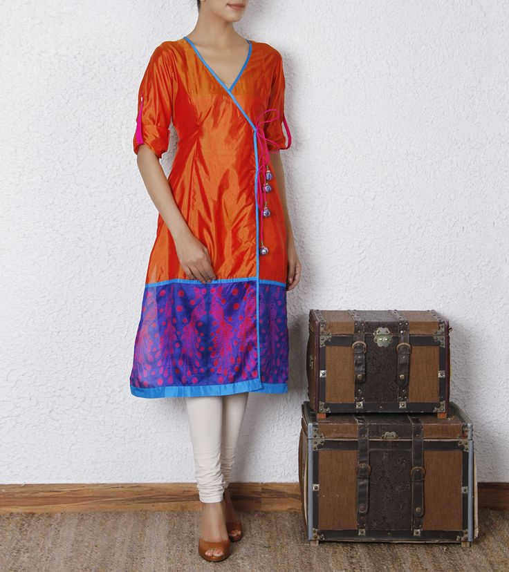 Orange Silk Shibori Dyed Angrakha Kurta | by Swati Vijaivargie