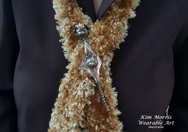 Aussie Metal Clay by Kim Booklass  hand sculpted scarf pin  wearable art