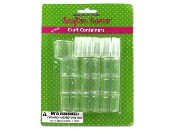 "Small Plastic Craft Containers, 12 - Perfect for storing buttons, paint, beads, jewelry, gems, creams, findings, glitter, powders and more, this 10-piece Small Craft Containers Set features tiny plastic containers with snap lids to help keep smaller craft items organized. Each container measures 1"" tall with lid and has a diameter of 1"". Comes packaged in a blister pack.-Colors: transparent. Material: plastic. Weight: 0.2722/unit"