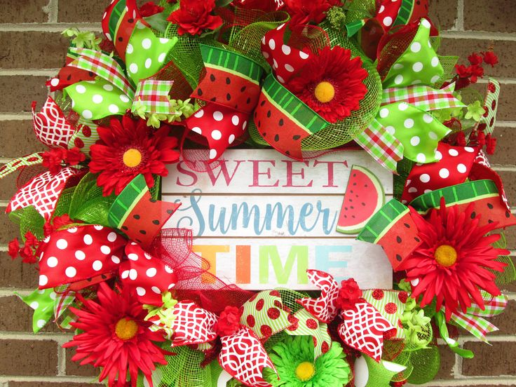 Summer Wreath, Summer Mesh Wreath,Summer Door Wreath, Watermelon Wreath, Summer Fun Wreath, Front Door Wreath, Red and Green Wreath by Fromthesouthdesigns on Etsy https://www.etsy.com/listing/526548829/summer-wreath-summer-mesh-wreathsummer