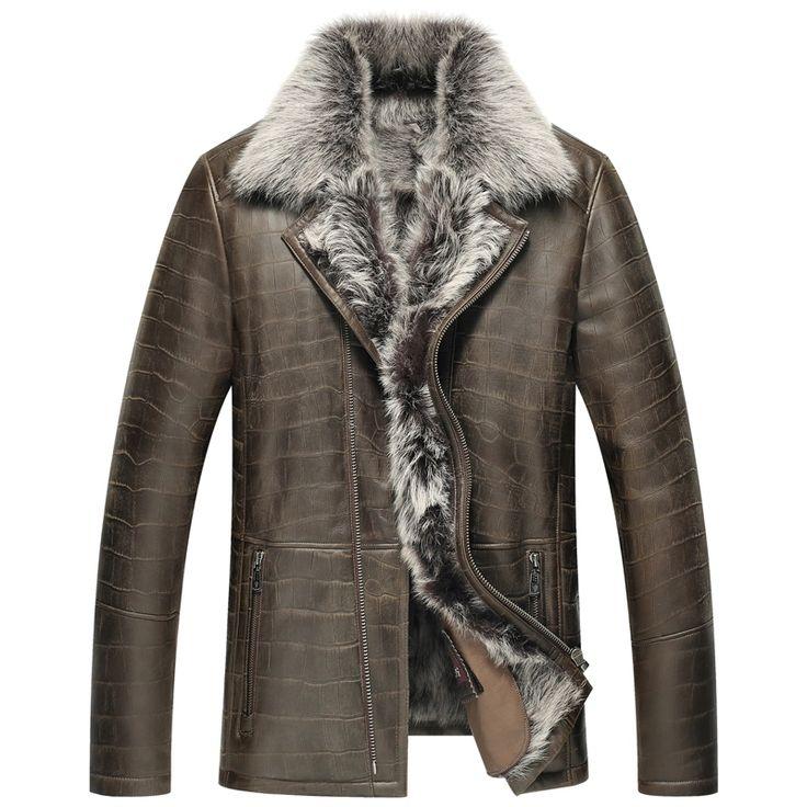 $559.2  Leather Jacket Men Shearling Jacket Men's Fur Coats Luxury Winter Sheepskin Coat Fur Parka