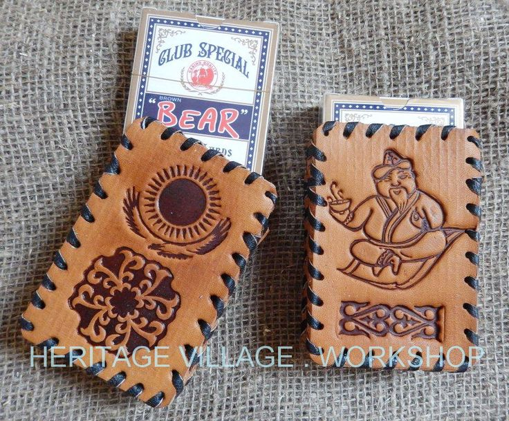 Handmade leather case for playing card . #kazakhstan , #leather , #souvenirs