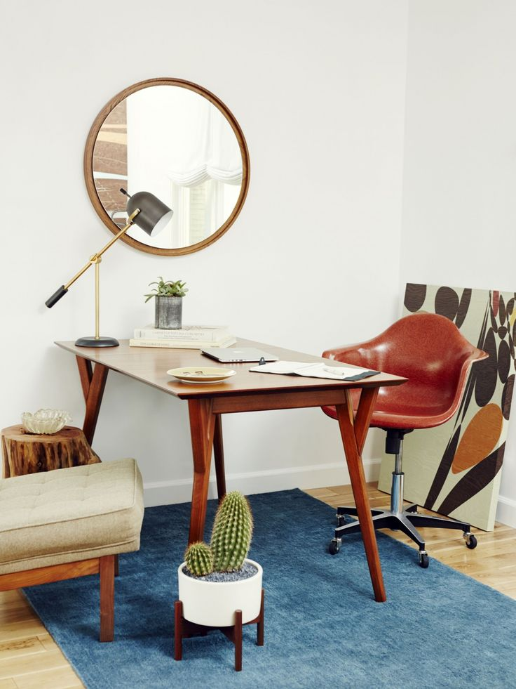 Damsel In Dior | Home Sweet Damsel | Modernica Case Study Ceramic Cylinder  With Wood Stand And Fiberglass Shell Chair On Rolling Base | Http://modeu2026