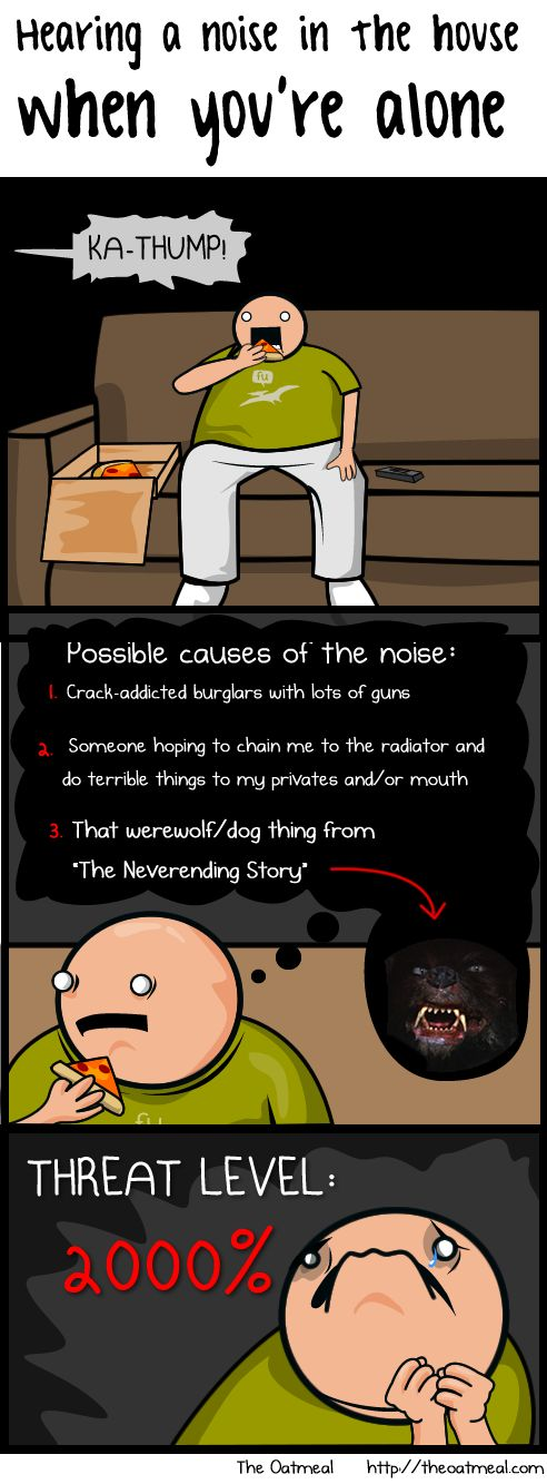 Hearing a noise in the house when you're alone - The Oatmeal